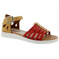 Sandalia Casual Croco Kids Tan/Coral