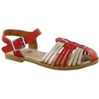 Sandalia Casual Croco Kids Red/Gold