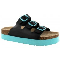 Sandalia Casual Croco Kids Black/Turquoise
